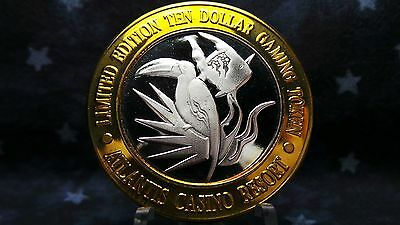 Atlantis Casino, Reno NV, Ltd Ed $10 Gaming Token .999 Fine Silver Strike BC 614