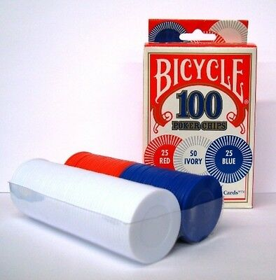 Set Of 100 Plastic Bicycle Poker Chips Red, Ivory And Blue *new In Box*