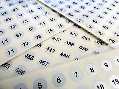 Small Silver 13mm Round Consecutive Sequential Number Labels Numbering Stickers