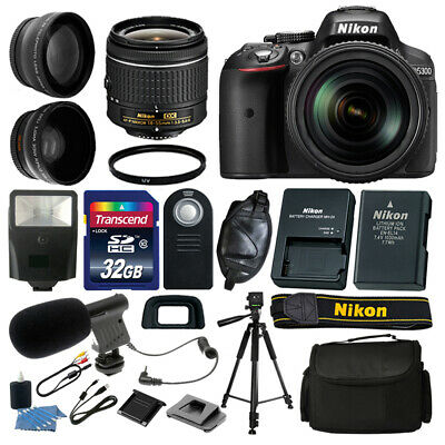 NEW Nikon D5300 DSLR Camera +18-55mm VR +32GB +Microphone Complete Video Kit