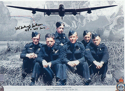 GEORGE 'Johnny' JOHNSON DAMBUSTER Signed 12x8 Photo WW2 LANCASTER 617 Sqdn  COA