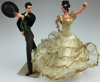 Marin Chiclana SPANISH MALE & FEMALE Dancers Dolls FLAMINCO Dancers on Stands