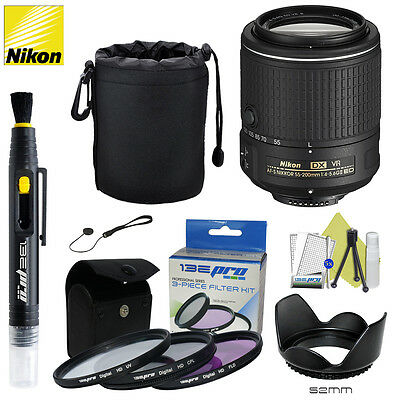 Nikon NIKKOR Zoom 55-200MM f/4-5.6G AF-S DX ED VR II Lens + I3ePro Accessory Kit