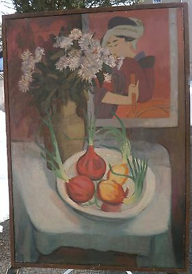 """""""The Japanese Print"""" Geisha, Onions, Flowers S/L Oil Painting-1950s-August Mosca"""