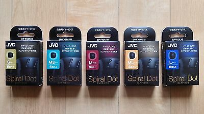 JVC Spiral Dot Silicon Earphone Tips in single pairs :  All 5 Sizes Available