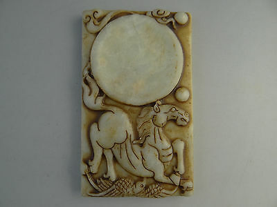 Ancient Chinese totem jade inkstone, hand-carved inkstone-horse D919