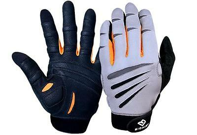 Bionic Mens Cross Fit Strength Training Gloves Full Finger w/Leather Palm.