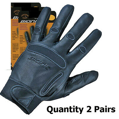 2 Pairs Bionic Mens Equestrian/Horse Riding Gloves. Full Leather construction