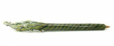 Glass Writing Pen Refillable Multi Color Spiral Twist Red Green Hand Blown Art