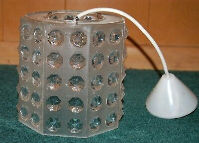 """Mid Century Modern Hanging French Light Fixture Lucite w/3-D """"Crystals""""!"""