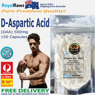 D-Aspartic Acid capsules DAA 150x500mg strength fat testosterone testicles loss