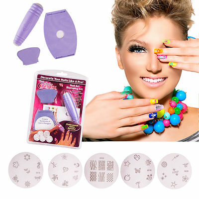 Salon Express Nagel Stempel Nageldesign Set Nail Stampling Kit Schablonen NEU