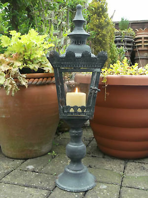 """Antique French Vintage Style Large Carriage Lantern Candle Holder 22"""" Rustic"""