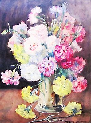 Marion Broom - First Bouquet Listed Artist Watercolor - C. 1920 - No Reserve