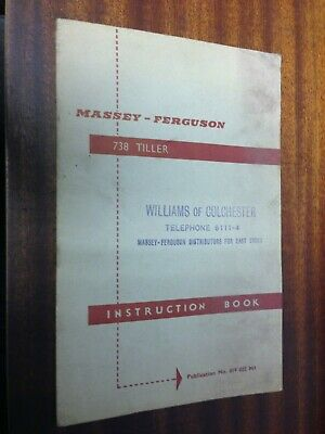 Mf Massey Ferguson 738 Tiller Instruction Book 819022M1 Manual