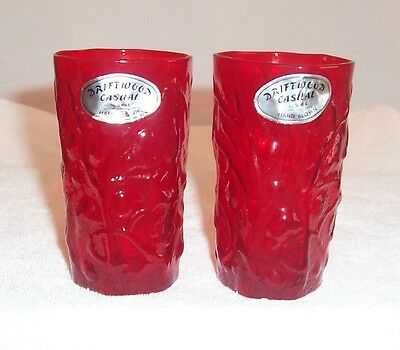 TWO (2) Seneca Driftwood Accent Red Juice Tumblers