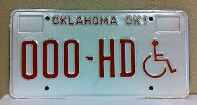 OKLAHOMA Handicapped Sample License Plate (000-HD)