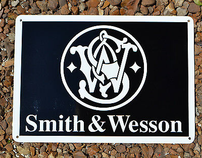 SMITH AND WESSON FIRE ARMS GUN SIGN 44 MAGNUM HUNTING LOGO Ad Ships Free