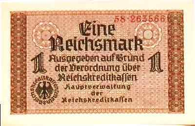 UNCIRCULATED 1939 NAZI Germany WERMACHT 1 Reichsmark Banknote Swastika
