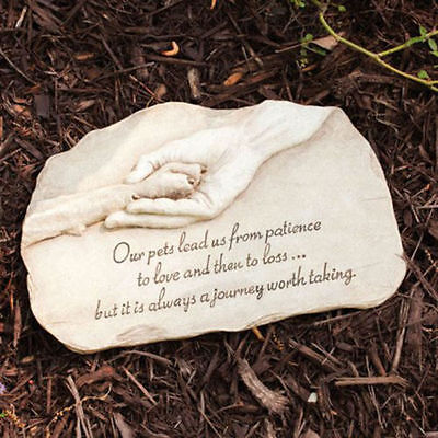 Paw in Hand Pet Dog Puppy Grave Memorial Stone Marker Plaque Headstone Tombstone