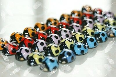 Lucky Ladybug 10pcs mix/red/pink/green/blue color handcrafted porcelain beads