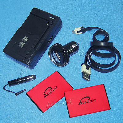 AceSoft 1100mAh Battery Multi Function Car Charger Cable Pen 4 LG Exalt II VN370