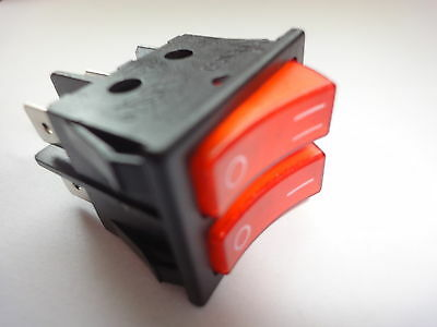 Double Pole Electric Fire Rocker Switch 16Amp 250V 30Mm X 22Mm