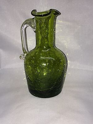 Pilgrim Hand Blown Green Crackle Glass Pitcher Clear Applied Handle