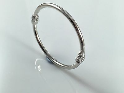 925 Sterling Silver Solid Plain Baby Bangle Christening Gift Hinged 4.9gr