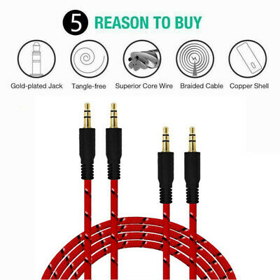 3.5mm  Braided Male to Male Stereo Audio AUX Cable Cord for SAM iPod CAR iPhone