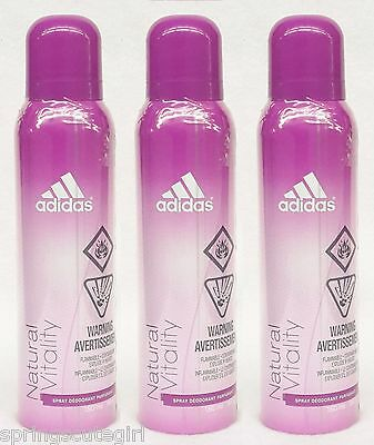 3 Adidas Natural Vitality Body Spray Deodorant For Women