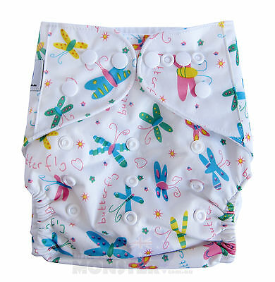 Reusable Modern Cloth Nappies One size fits most Diaper White Butterfly SHELL