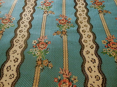 Antique French Roses Floral Blue Lisere Brocade Fabric~