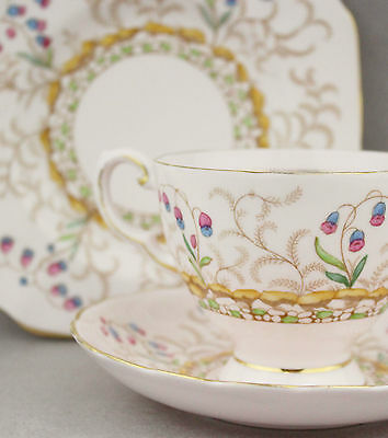1950s Fine China Trio Tuscan 8875H Vintage Porcelain Cup Saucer Plate High Tea
