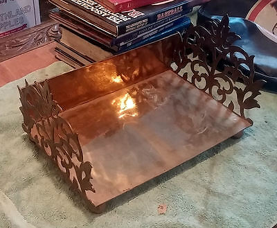 "Solid Brass Book Stand / Rack For Oversize Books ~ 18"" Wide ~Filigree Grill Ends"