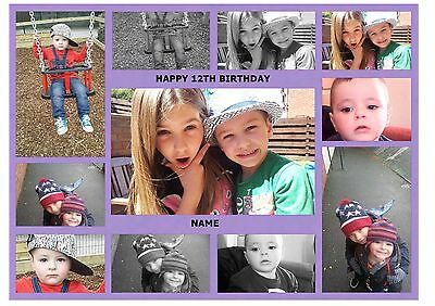 Purple Own Personalised Photo Collage A4 Edible Cake Topper Custom Made Picture