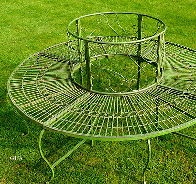 Tree Bench Garden Circular Seating - Antique Green aged Paint vintage styled