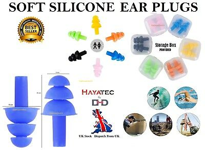 Soft Silicone Earplugs Reusable Ear Plugs Sleep Swimming Work Noise reduction UK