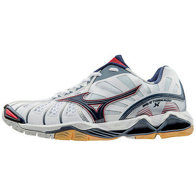Mizuno Men's Wave Tornado X Volleyball Shoes - White & Navy - 430201
