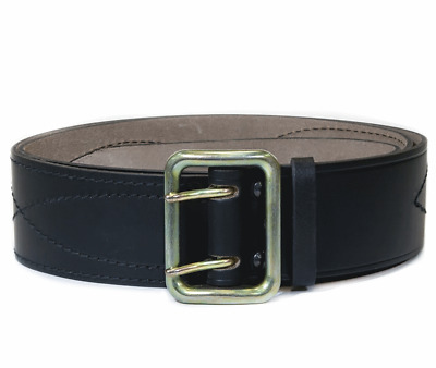Russian Military Belt Original Army Leather Officer Black Stitched