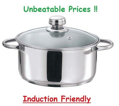 18cm/2.2L 20cm/3L 24cm/5.5L Induction Stainless Steel Casserole Stock Pot Pan