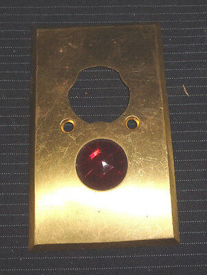 VINTAGE OLD BRASS BUTTON SWITCH PLATE w/ RED GLASS JEWEL - Industrial Steampunk • CAD $25.07