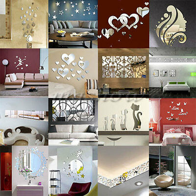 Modern 3D Acrylic Mirror DIY Wall Home Decal Mural Decoration Vinyl Art Stickers