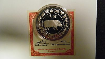1983 Singapore $10 Year of the Pig Silver Proof coin w/ CoA