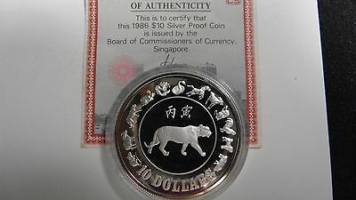 1986 Singapore $10 Year of the Tiger Silver Proof coin w/ CoA