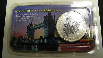 1999 Great Britain 2 Pounds Britannia Silver coin ( Littleton Holder)