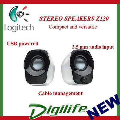 Logitech Z120 3.5mm Jack, USB Power Compact Mini Stereo Speakers for PC Computer