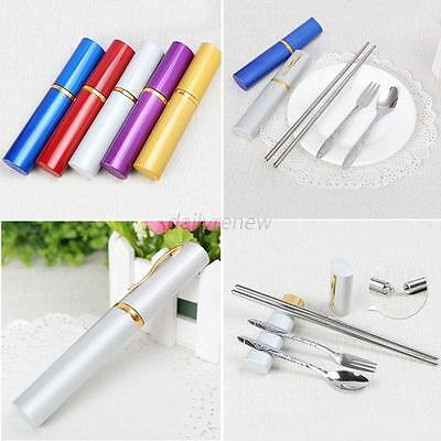 Mini Outdoor Stainless Steel Travel Dinner 3in1 Set Fork Spoon Chopstick Tool