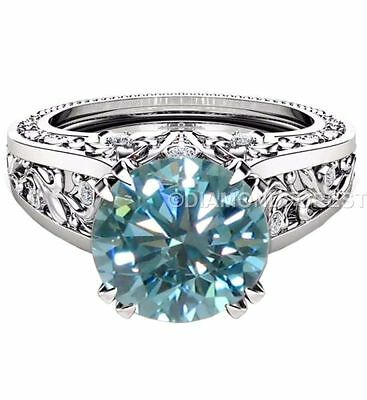 1.92 ct genuine blue moissanite wt simulated diamonds 925 silver engagement ring