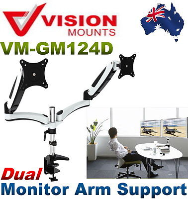 NEW VisionMount Gas Spring Desk Clamp Aluminium Dual Monitor Arm Support GM124D